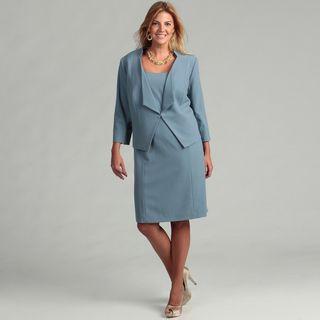 Tahari Womens Plus Size Paris Blue 2 piece Dress