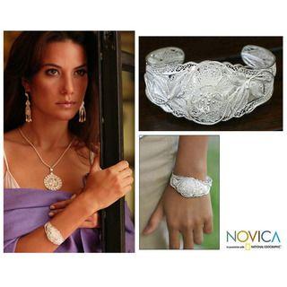 Sterling Silver Filigree Wild Rose Cuff Bracelet (Indonesia