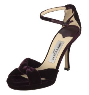 Jimmy Choo Grape Velvet Ankle Strap Sandals