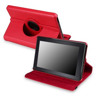 Red 360 degree Leather Swivel Case Version 2 for  Kindle Fire