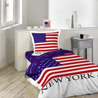 Parure de drap lit 1 pers 100% coton FLAG   Achat / Vente PARURE DE