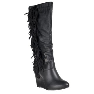 Diva Lounge Womens Colette Wedge heel Fringed Boots