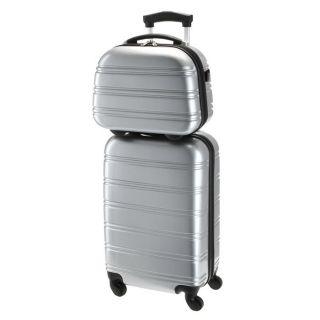 Coloris  gris. Set comprenant une valise trolley 4 roues et un vanity