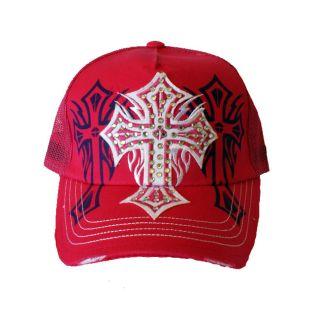 Womens Red Rhinestone Cross Trucker Hat