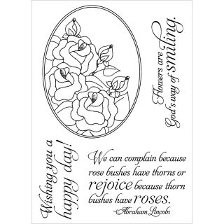 Inky Antics Rose Oval Clear Stamp Set