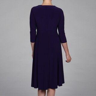 Evan Picone Womens 3/4 Sleeve Asymmetrical Waist Grape Mist Dress