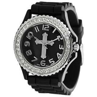 Geneva Platinum Womens Rhinestone accented Cross Silicone Watch