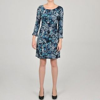 Glamour Womens 3/4 length Sleeve Pleated Ruffle Dress