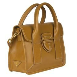 Prada Canapa and Cinghiale Blue Leather Tote Bag