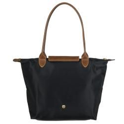 Longchamp Small Le Pliage Black Nylon Brown Leather Handle Tote Bag