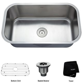 Kraus Undermount Single Bowl Stainless Steel Kitchen Sink with Grid
