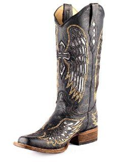 Womens Distressed Black Winged Cross Silver Inlay Boot   A1986 Shoes