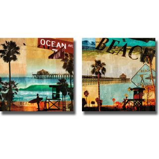 Charlie Carter Ocean Avenue and Beach Culture 2 piece Canvas Art Set