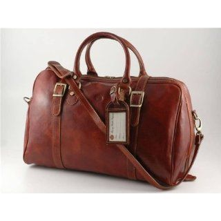 BROWN ITALIAN LEATHER DUFFEL DUFFLE TRAVEL BAG MADE IN ITALY