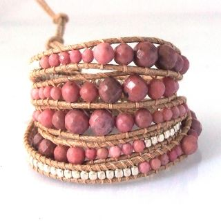 Earthy Gems Pink Rhodonite Stone Snake Cord Leather Wrap Bracelet