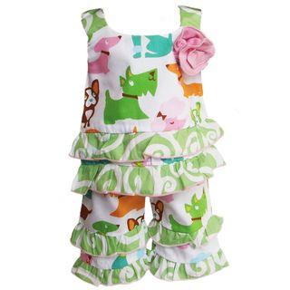 AnnLoren 2 piece Puppy Dog printed Tunic & Capri Set for American Girl
