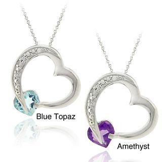 Glitzy Rocks Silver Amethyst or Blue Topaz and Diamond Accent Heart