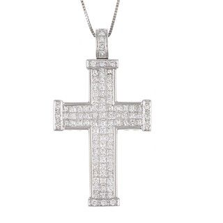 18K White Gold 2 1/3ct TDW Diamond Cross Necklace
