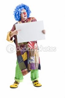 Clown holding sign  Stock Photo © Noam Armonn #1337549