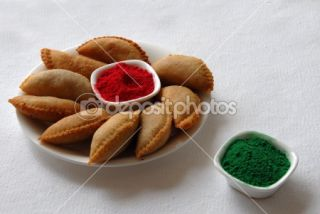 Sweets gujia and color on holi festival  Stock Photo © Bhupendra