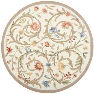 Hand hooked Garden Scrolls Ivory Wool Rug (4 Round)