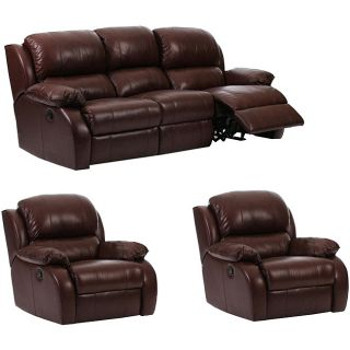 Ashley 3 piece Brown Leather Reclining Sofa and Two Chair Set