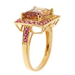 Yach 14k Yellow Gold Ametrine, Pink and Yellow Sapphire Ring