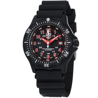 Luminox Mens OPS Black Dial Black Rubber Strap Quartz Watch