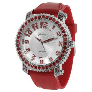 Geneva Platinum Womens Rhinestone accented Large Face Silicone Watch