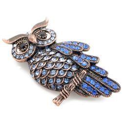 Bronzetone Blue Austrian Crystal Vintage style Owl Pin