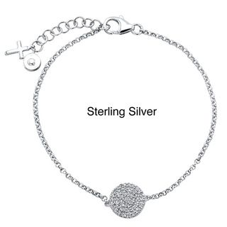 Sterling Silver 1/4ct TDW Diamond Pave Circle and Cross Bracelet