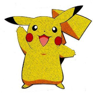 Pikachu in Pokemon pocket monster glittered Heat Iron On Transfer for