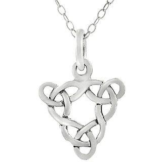 Sterling Silver Celtic Triple Trinity Knot Neckalce