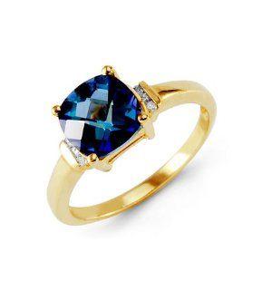 10k Yellow Gold Blue Mystic Topaz Round Diamond Ring