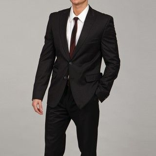 English Laundry Mens Black Two button Slim Fit Suit