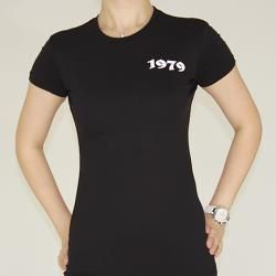 1979 Collection Womens Graphic Fleur de lis Cross Crewneck T shirt