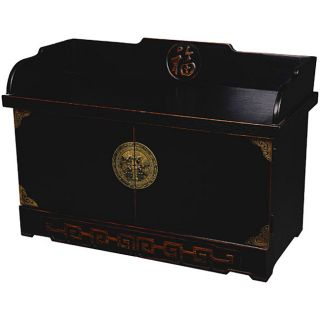 Chinese Lacquered Wood Storage Cabinet/ Bench