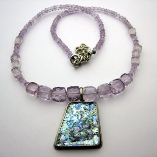 Sterling Silver Amethyst and Ancient Roman Glass Necklace (Israel