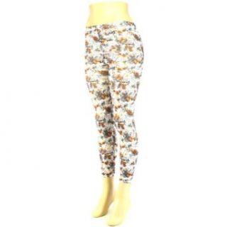 Summer Floral Love Print Legging Stretchy White Brown