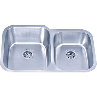 Undermount Offset Stainless Steel Double Bowl Sink