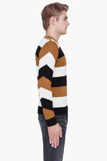 CARVEN Tan Striped Merino Wool Sweater for men