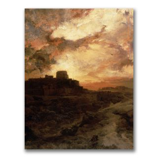 Thomas Moran Sunset Pueblo del Walpe, Arizona Canvas Art