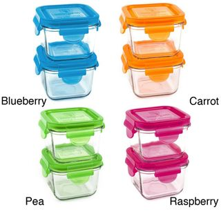 Wean Green Snack Cube 7 ounce Glass Food Containers (Pack of 2