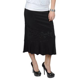 Tressa Designs Womens Long Beaded Applique Skirt