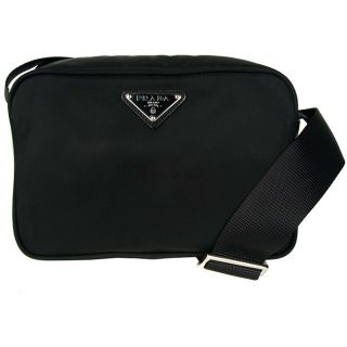 Prada Vela Tessuto Brick Black Bag