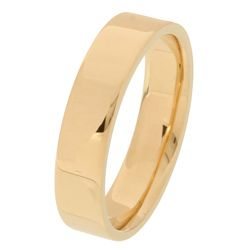 10k Yellow Gold Mens Flat 5 mm Wedding Band