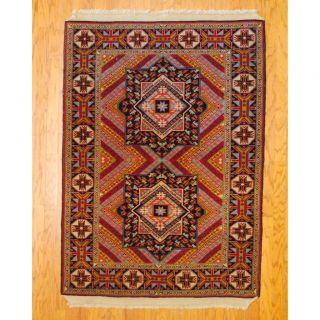 Persian Tribal Kurdish Red/ Black Wool Rug (4 x 6)
