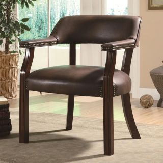 Bourne Traditional Vinyl Office Side Chair with Nailhead Trim