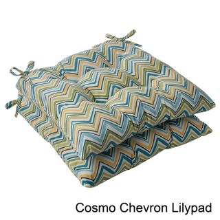 Pillow Perfect Outdoor Cosmo Chevron Tufted Seat Cushion (Set of 2
