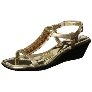 AK Anne Klein Womens Macadamia Gold Jewel Wedge Sandal